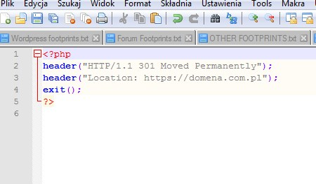 Przekierowanie 301 SEO w PHP